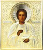 """Арт-студия """"Кентавр"""" - Старинная икона """"Святой великомученик целитель Пантелеймон"""" в серебряном окладе №015171"""