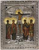 """Арт-студия """"Кентавр"""" - Старинная икона """"Распятие Иисуса Христа"""" в окладе №015177"""