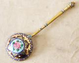 """Арт-студия """"Кентавр"""" - Старинная ложка для меда и варенья с выемчатой и живописной эмалью «Роза» №015189"""