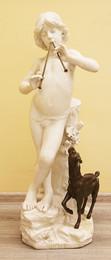 """Арт-студия """"Кентавр"""" - Старинная мраморная скульптура """"Играющий на флейте пастух с козой"""" (""""Идиллия"""") №015338"""