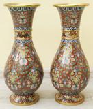 """Арт-студия """"Кентавр"""" - Парные вазы в технике юсэн-сиппо (клуазоне) №015359"""