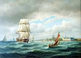 """Арт-студия """"Кентавр"""" - Билле Карл Людвиг (1815-1898) - """"Морской пейзаж. Корабли на рейде Королевского замка Кронборга"""" 1878г. №002398"""