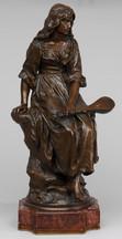 """Арт-студия """"Кентавр"""" - Скульптура бронзовая """"Сидящая девушка с мандолиной"""". Модель скульптора Поля-Эжена Манжина. Ф-ка братьев Сюсс. 1890-е годы №003385"""