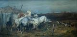 """Арт-студия """"Кентавр"""" - Шрейер Адольф (1878-1899) - """"Лошади, напуганные волками"""" №003872"""