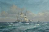 """Арт-студия """"Кентавр"""" - """"Морской пейзаж с трехмачтовым кораблем"""", 1923г №004583"""