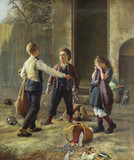 """Арт-студия """"Кентавр"""" - Хеннингсен Прам (1846-1892) - """"Предостерегающий мальчик. Жанровая  сцена с детьми"""" 1872г №004857"""