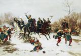 "Арт-студия ""Кентавр"" - Хюнтен Эмиль (1827-1902) - ""Бой между прусскими уланами и французскими солдатами-пехотинцами"" №008669"