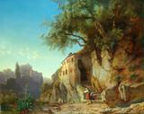 """Арт-студия """"Кентавр"""" -  Мали Иоганн (1828-1865) -""""Пейзаж, в римской Кампанье"""" 1864г №008713"""
