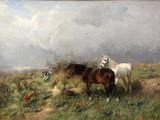 """Арт-студия """"Кентавр"""" - """"Пейзаж с двумя лошадьми и охотничьей собакой"""" №008858"""