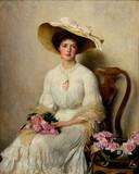 """Антиквариат.ру - Бэкон Джон Генри Фредерик (1868-1914) - """"Молодая дама с розами"""" 1903 г. №008949 - В 1898 году принимал участие в выставке картин английских художников в Санкт - Петербурге.На Всемирной выставке  в Париже 1900 года был отмечен наградой."""