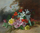 """Арт-студия """"Кентавр"""" - Давид Эмиль Жозеф де Нотер  (1825 - 1892) - """"Букет цветов с розами,гладиолусами и лилиями"""" №009065"""