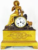 """Арт-студия """"Кентавр"""" - Cтаринные  каминные часы с боем  """"Девушка с овечкой"""" в стиле ампир №009138"""