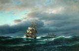 "Арт-студия ""Кентавр"" - Хюнтен Франц (1822-1887) - ""Корабли в море"" 1870-е годы. №009299"