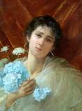 """Арт-студия """"Кентавр"""" - Джусто Фаусто (1867-1941) - """"Девушка с цветами"""" №009585"""