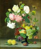 """Арт-студия """"Кентавр"""" - Мёллбак Христиан (1853-1921) - """"Розы, фрукты и бабочки"""" 1878г. №009750"""