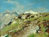 """Арт-студия """"Кентавр"""" - Брахт Эжен (1842-1921) - """"Горный пейзаж""""  №009868"""
