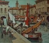 """Арт-студия """"Кентавр"""" - Штран Петер Йозеф (1904-1997) - """"Рынок на канале в Венеции"""" №009943"""