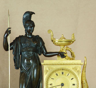 """Арт-студия """"Кентавр"""" - Старинные каминные часы с боем  """"Древнегреческая богиня Фортуна с рогом изобилия"""".1800-1810гг №010134"""