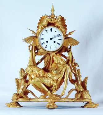 """Арт-студия """"Кентавр"""" - Старинные каминные часы с боем в колониальном стиле. №010179"""