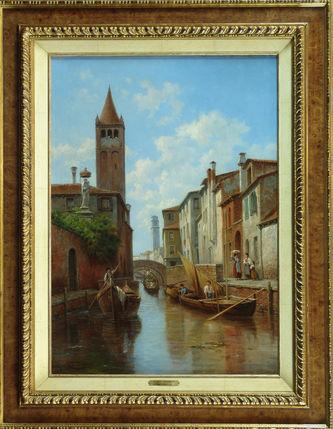 """Арт-студия """"Кентавр"""" - Карабен Жак (1834-1933) - """"Канал Санта Барбара в Венеции"""" 1860 - 1880-е гг №010337"""