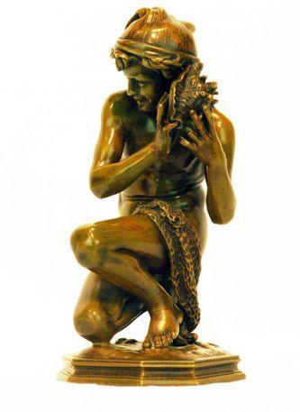 """Арт-студия """"Кентавр"""" - Скульптура бронзовая """"Неаполитанский мальчик-рыбак с раковиной"""" 1857-1858 годы №010422"""