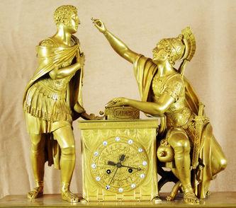 """Арт-студия """"Кентавр"""" - Большие дворцовые старинные каминные часы с боем """"Илиада"""" №010424"""