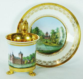 """Арт-студия """"Кентавр"""" - Чайная пара с изображением в медальоне старинной крепости в стиле ампир №010560"""