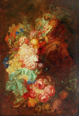 """Арт-студия """"Кентавр"""" - """"Натюрморт c цветами, фруктами и античными вазами"""" №010593"""