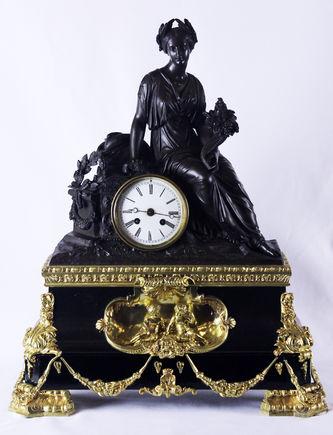 """Арт-студия """"Кентавр"""" - Cтаринные каминные часы с боем """"Богиня Фортуна с рогом изобилия"""" №010935"""