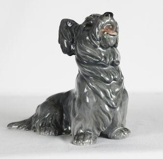 """Арт-студия """"Кентавр"""" -  Фарфоровая статуэтка собаки породы Скотч-терьер (Шотландский терьер). 1915-47-е гг. №011039"""