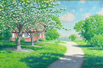 """Арт-студия """"Кентавр"""" - """"Цветущие яблони у красного дома"""" №011179"""