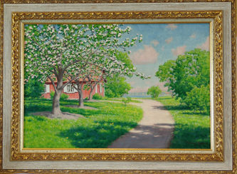 """Арт-студия """"Кентавр"""" - Краутен Йохан (1858-1932) - """"Цветущие яблони у красного дома"""" №011179"""