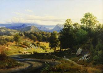 """Арт-студия """"Кентавр"""" - Мор Иоганн (1808-1843) - """"Долина в Южном Тироле"""" 1837г №011343"""
