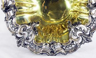 Антиквариат.ру - Большая старинная серебряная ваза для фруктов стиле второго рококо №011490