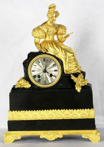 """Арт-студия """"Кентавр"""" - Cтаринные каминные часы с боем """"Девушка, читающая письмо"""" №011540"""