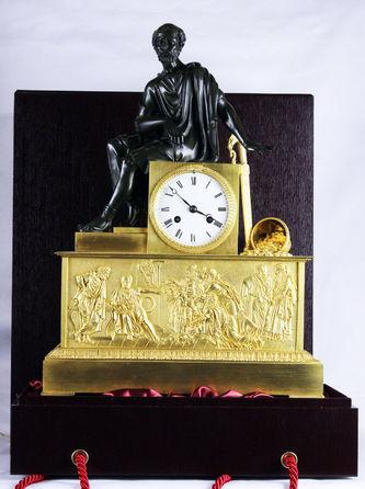 """Арт-студия """"Кентавр"""" - Cтаринные каминные часы с боем """"Древнегреческий мыслитель Сократ"""" №011627"""