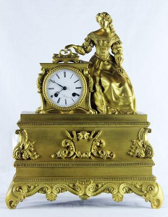 """Арт-студия """"Кентавр"""" - Cтаринные каминные часы с боем """"Молодая девушка пишет письмо"""" №011630"""