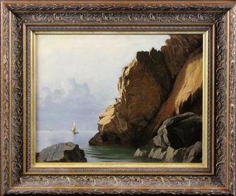 """Арт-студия """"Кентавр"""" - Олсен Альфред(1854-1932) - """"Скалистое побережье с парусной лодкой"""" №011632"""
