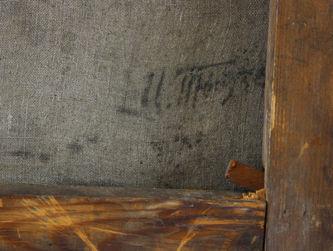 """Антиквариат.ру - """"Портрет Иосифа Виссарионовича Сталина""""  №011755 - Подпись автора на обороте картины в правом  нижнем углу"""