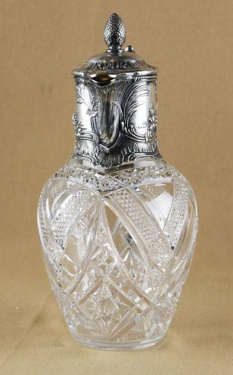 """Арт-студия """"Кентавр"""" - Кувшин серебряный с хрусталем, декорированный растительными мотивами №011771"""