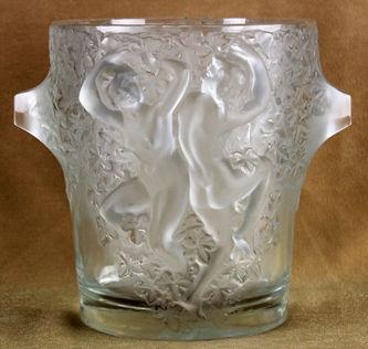 """Арт-студия """"Кентавр"""" - Стеклянная ваза с изображением обнаженной пары в танце. 1920-1930гг №011774"""
