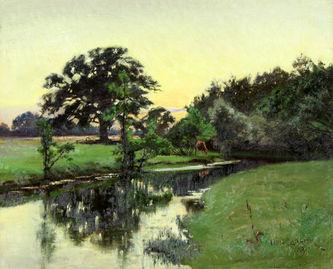"Арт-студия ""Кентавр"" - ""Пейзаж с рекой на закате"" 1889г №011851"