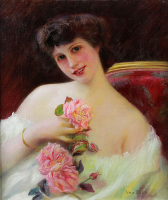 "Арт-студия ""Кентавр"" - Сала Жан (1867-1918) - ""Дама с розами"" №011855"