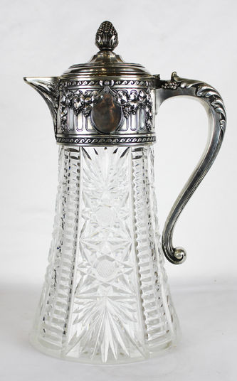 """Арт-студия """"Кентавр"""" - Большой серебряный кувшин с хрусталём в классическом стиле №011928"""
