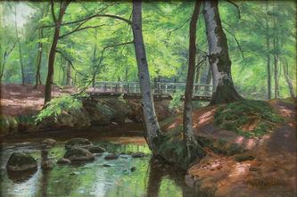 """Арт-студия """"Кентавр"""" - Биркхаммер Аксель Йенсен (1874-1936) - """"Лесной пейзаж с мостиком""""  №011929"""