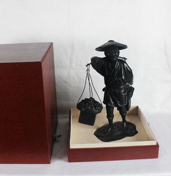 """Арт-студия """"Кентавр"""" - Старинная японская бронзовая статуэтка (окимоно) """"Продавец фруктов с корзинами"""" №011960"""