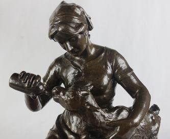 """Арт-студия """"Кентавр"""" - Скульптура бронзовая """"Девушка с козленком"""". 1912 г. №011991"""