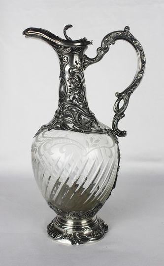 """Арт-студия """"Кентавр"""" - Антикварный серебряный кувшин для вина с растительным орнаментом, картушем и пальметтой №012143"""