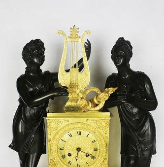 """Арт-студия """"Кентавр"""" - Старинные каминные часы с боем """"Орфей и Эвридика """" в стиле ампир №012170"""