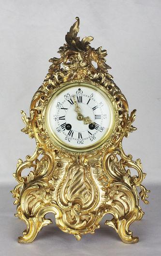 """Арт-студия """"Кентавр"""" - Старинные каминные часы с боем с растительным декором №012171"""